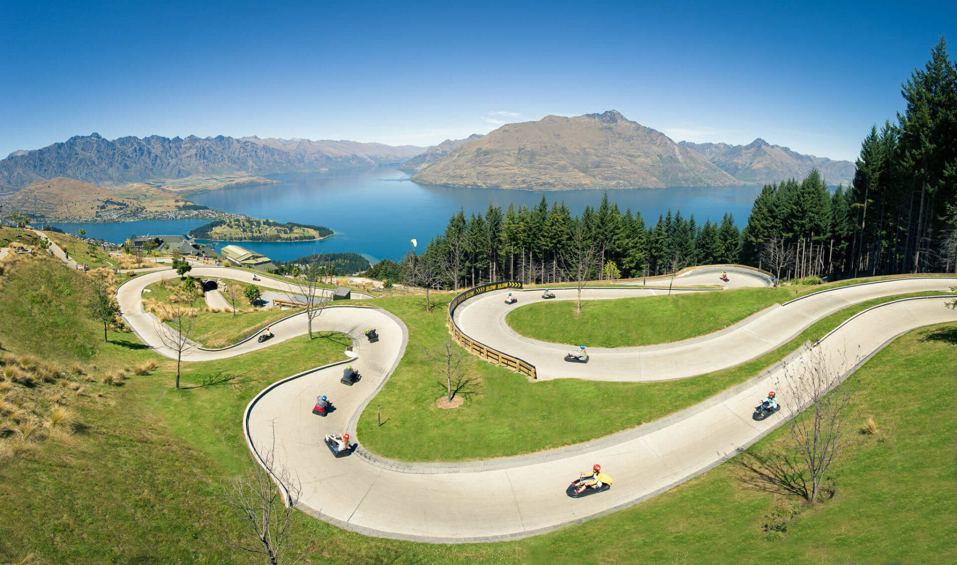 Luge Track and Views of Lake Wakatipu and the mountains behind.