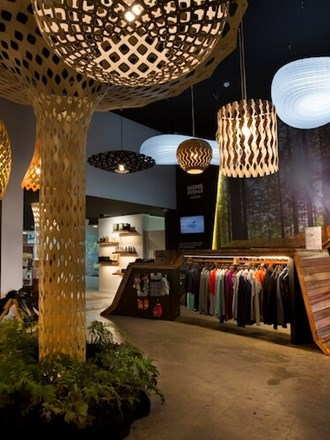 Photo inside the iNZpired store. Clothes, Lights and Mountain Bikes.