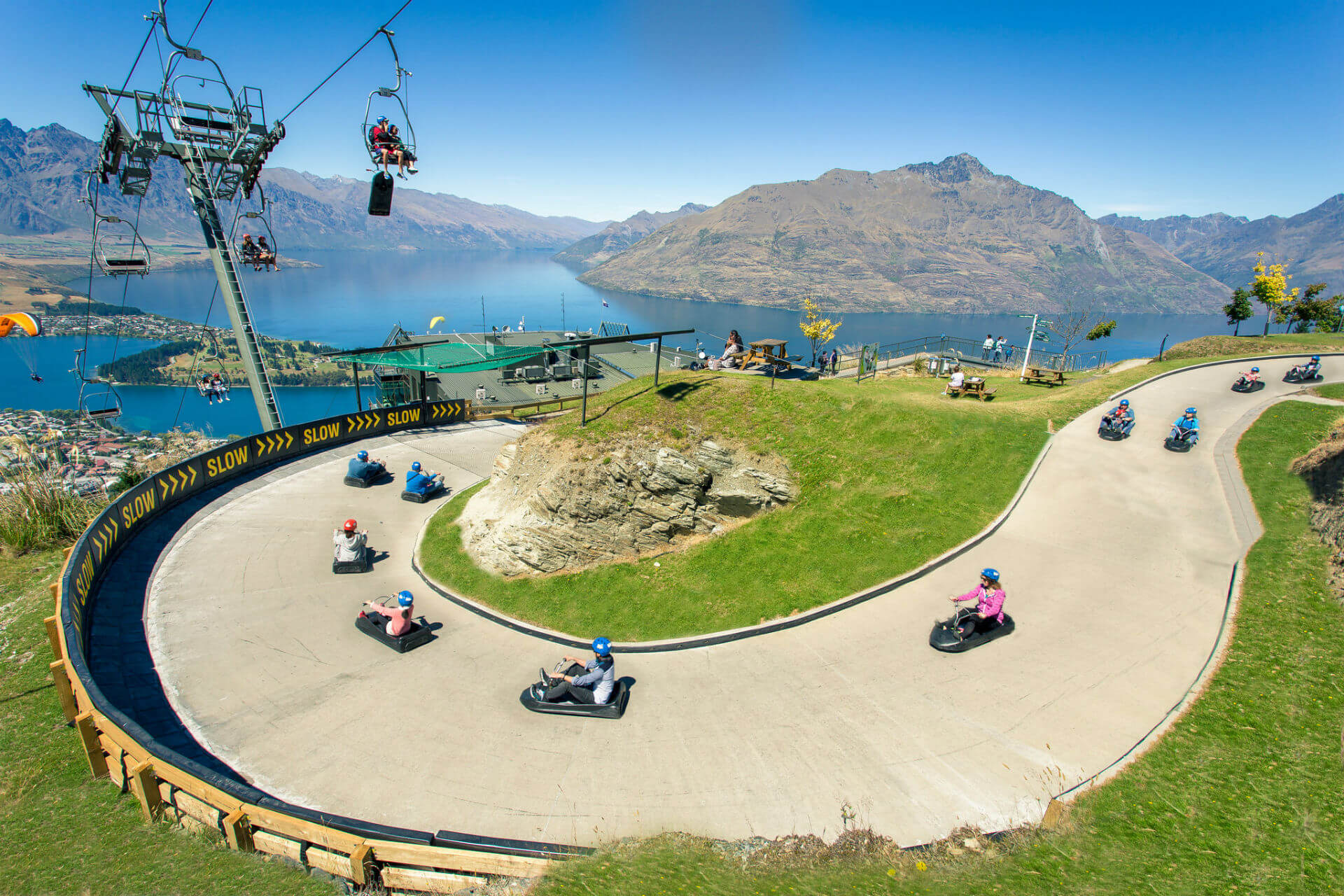 Skyline Queenstown Luge Track and Chairlift.