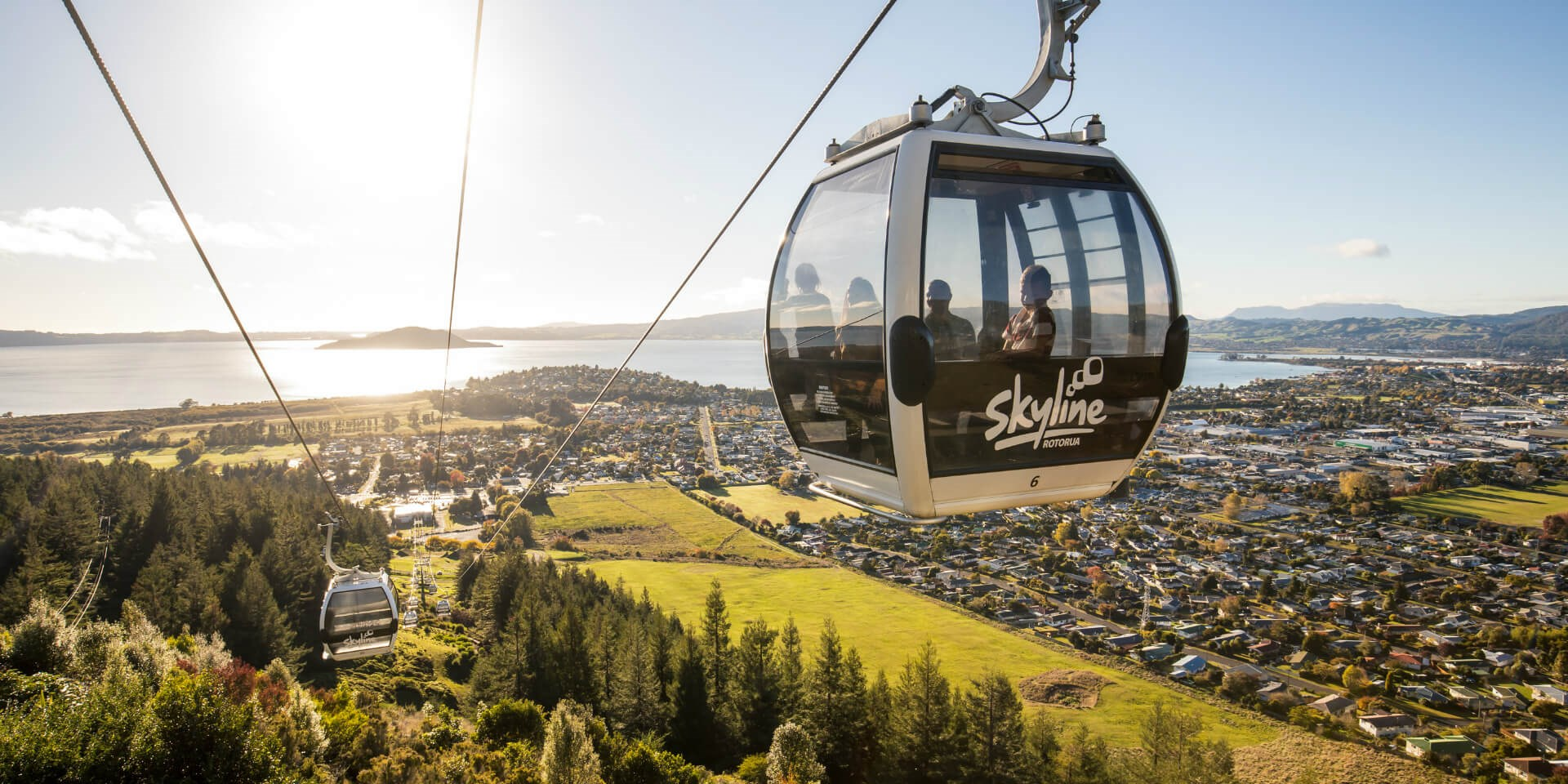 Gondola Cabin Ascends Mt Ngongotaha To The Skyline Rotorua Complex.