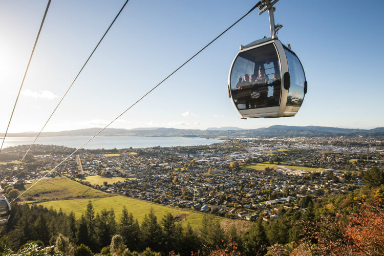 A Skyline Rotorua Gondola Cabin Makes Its Way To The Top
