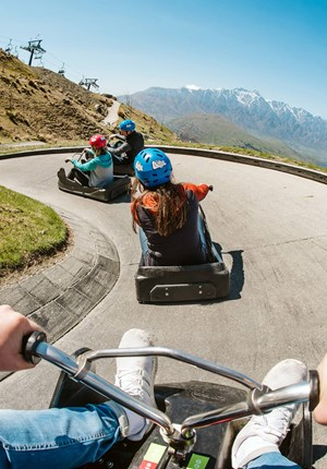 First Person Perspective Of Someone Riding The Luge At Queenstown.