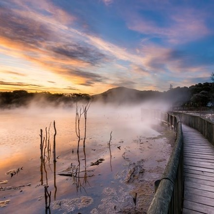 Steam rising from the water at Kuiaru Park, New Zealand's only public and Free geothermal park.