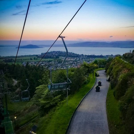 Sunset view of the Skyline Rotorua Luge and Chairlift.